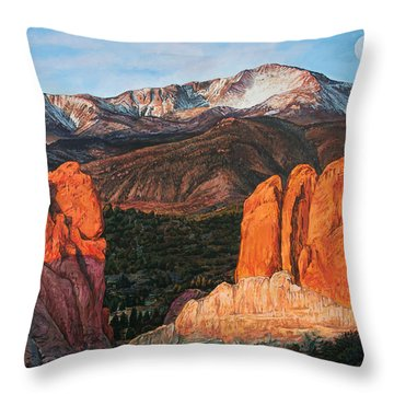 Throw Pillow featuring the painting Pikes Peak by Aaron Spong