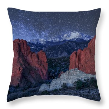 Pikes Peak At Night Throw Pillow