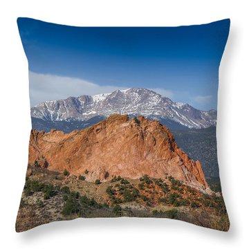 Pikes Peak Behind Garden Of The Gods Throw Pillow by Ernie Echols