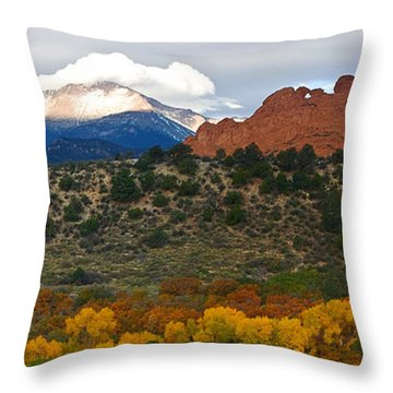 Throw Pillow featuring the photograph Pikes Peak Fall Pano by Ronda Kimbrow
