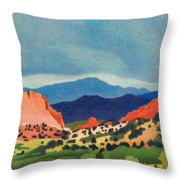 Garden Of The Gods Pikes Peak Throw Pillow