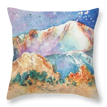 Pikes Peak Over The Garden Of The Gods Throw Pillow