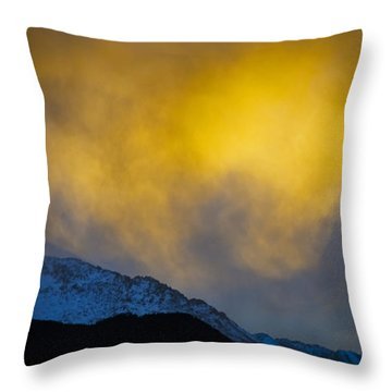 Pike's Peak Snow At Sunset Throw Pillow