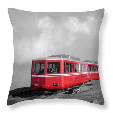 Pikes Peak Train Throw Pillow