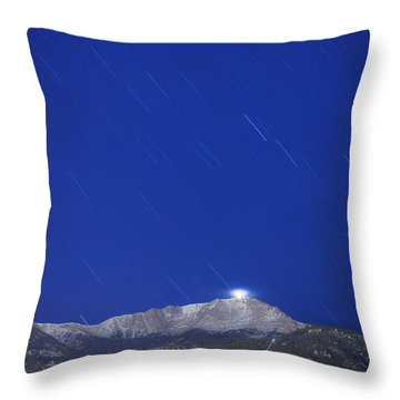 Pikes Peak Under The Stars Throw Pillow by Darren  White