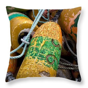 Pile Of Colorful Buoys Throw Pillow