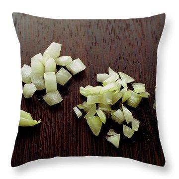Piles Of Raw Onion Throw Pillow