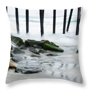 Pilings At Oceanside Throw Pillow