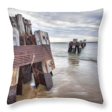 Pilings Throw Pillow by Eric Gendron