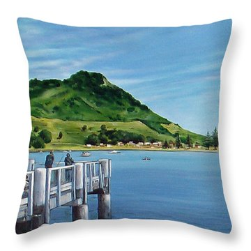Throw Pillow featuring the painting Pilot Bay 280307 by Sylvia Kula