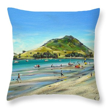Throw Pillow featuring the painting Pilot Bay Mt M 050110 by Sylvia Kula