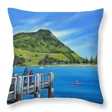 Pilot Bay Mt Maunganui 201214 Throw Pillow by Selena Boron