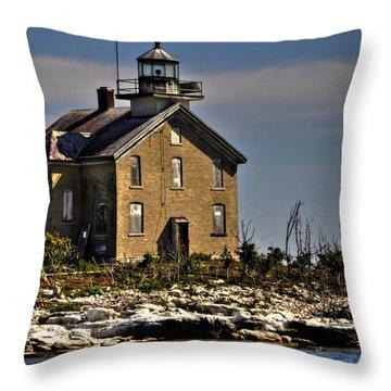 Throw Pillow featuring the photograph Pilot Island Lighthouse by Deborah Klubertanz