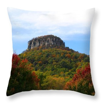 Pilot Mountain From 52 Throw Pillow by Kathryn Meyer