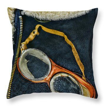 Pilot - Vintage Aviation Goggles Throw Pillow by Paul Ward