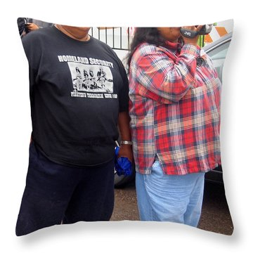 Pima Indians Watching Parade Sacaton Arizona 2005 Throw Pillow