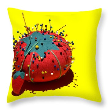 Pin Cushion Throw Pillow by Tom Mc Nemar