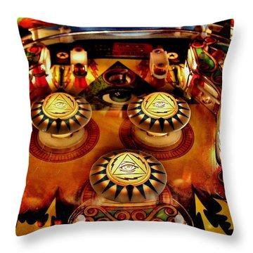 Pinball All Seeing Eye Throw Pillow by Benjamin Yeager