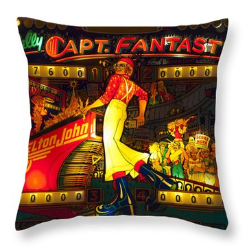 Pinball Machine Capt. Fantastic Throw Pillow by Terry DeLuco