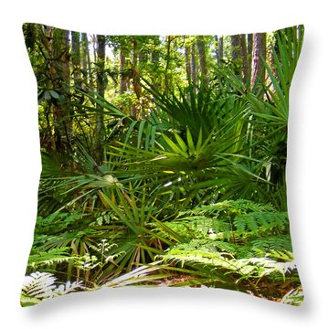 Pine And Palmetto Woods Filtered Throw Pillow