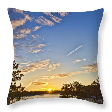 Throw Pillow featuring the photograph Pine Barrens Sunset #1 by Beth Sawickie