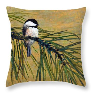 Throw Pillow featuring the painting Pine Branch Chickadee Bird 1 by Kathleen McDermott