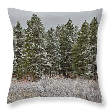 Pine Flurries Throw Pillow