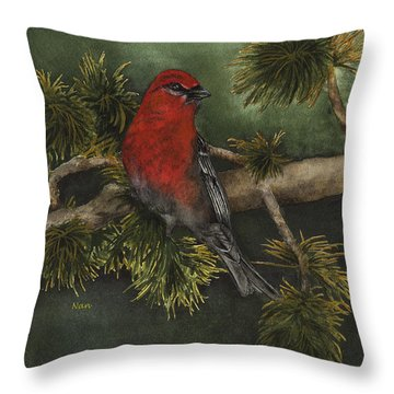 Pine Grosbeak Throw Pillow by Nan Wright
