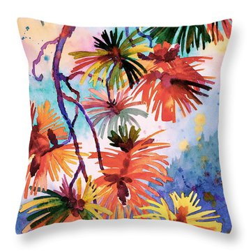 Pine Needle Fireworks Throw Pillow by Dianne Bersea