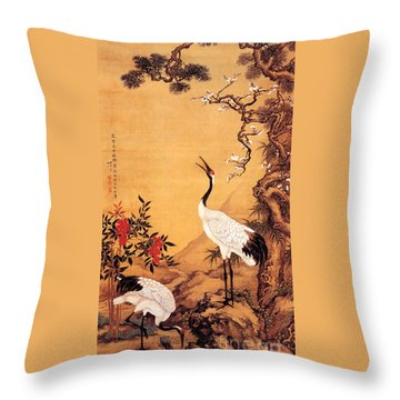 Pine - Plum - Cranes Throw Pillow by Pg Reproductions