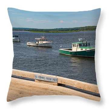 Pine Point Lobster Boat Line Throw Pillow