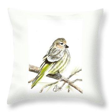 Pine Siskin Finch Throw Pillow by Elisa Gabrielli