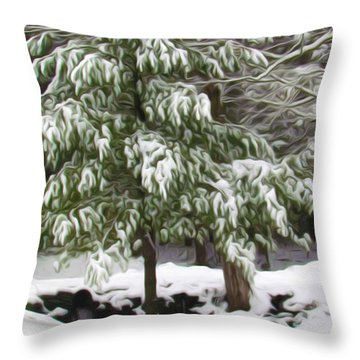 Pine Tree Covered With Snow 2 Throw Pillow by Lanjee Chee