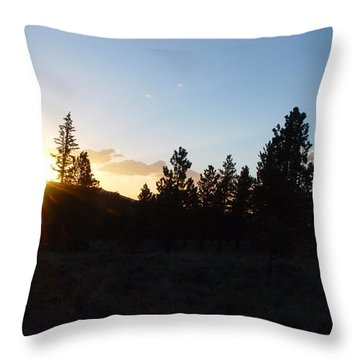 Pine Tree Sunset Throw Pillow by Mark Russell