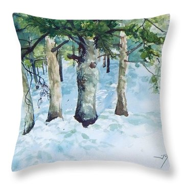 Pine Trees And Snow Throw Pillow
