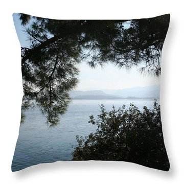 Throw Pillow featuring the photograph Pine Trees Overhanging The Aegean Sea by Tracey Harrington-Simpson