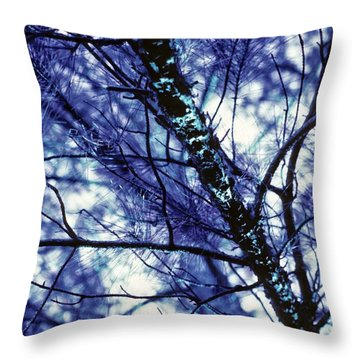 Pine Trees Redux In Blue Throw Pillow