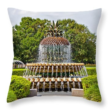 Throw Pillow featuring the photograph Pineapple Fountain In Waterfront Park by Jean Haynes