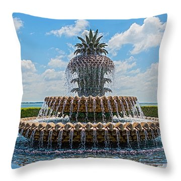 Throw Pillow featuring the photograph Pineapple Fountain by Sennie Pierson