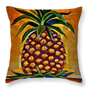 Throw Pillow featuring the painting Pineapple II by Shelia Kempf