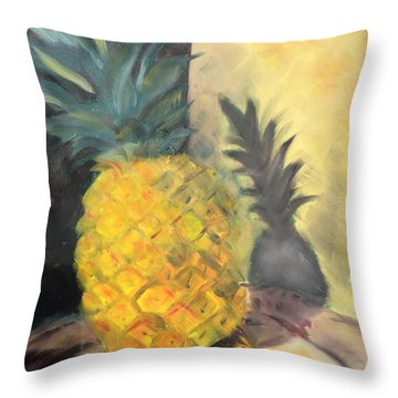 Pineapple On A Silver Tray Throw Pillow