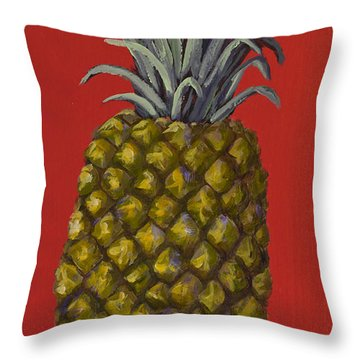 Pineapple On Red Throw Pillow by Darice Machel McGuire
