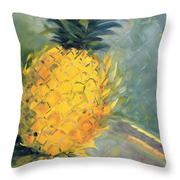 Pineapple On Soft Green Throw Pillow