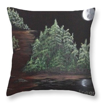 Pines With Moon Throw Pillow