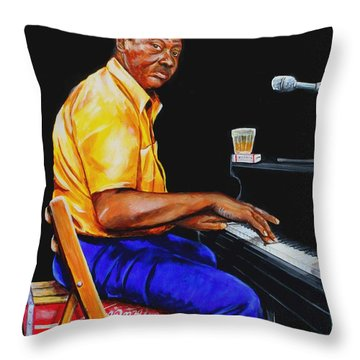 Pinetop Perkins Throw Pillow by Karl Wagner