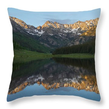 Throw Pillow featuring the photograph Piney Lake Sunset Panorama by Aaron Spong