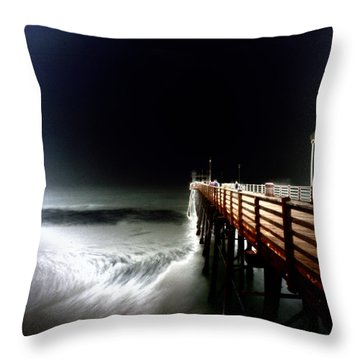 Pinhole Oceanside Pier Throw Pillow