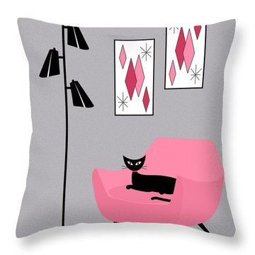 Pink 2 On Gray Throw Pillow
