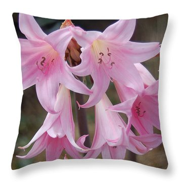 Pink Agapanthus Throw Pillow by Suzanne Gaff