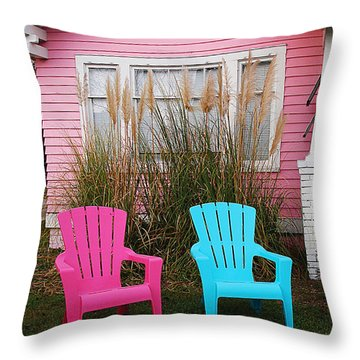 Pink And Blue Chairs By Jan Marvin Throw Pillow